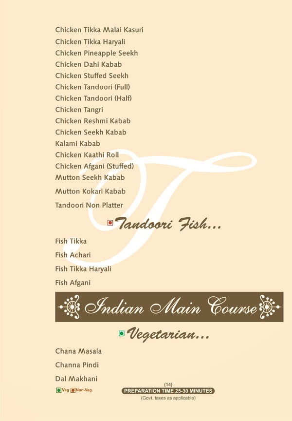 Menu - Temptation Restaurant Amritsar - Best Restaurant in Amritsar