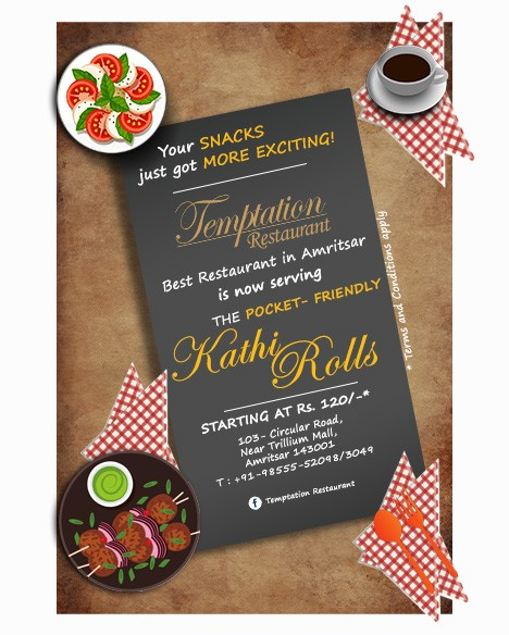 best food kathi rolls at temptation restaurant amritsar